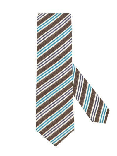 Tie with stripe pattern v BROWN
