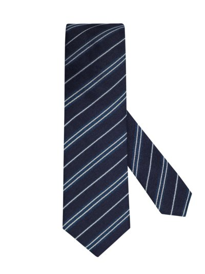 Tie in a linen blend, striped v MARINE