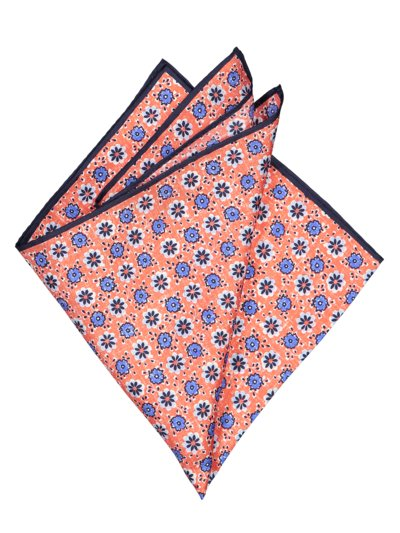 Silk pocket kerchief with floral pattern v RED