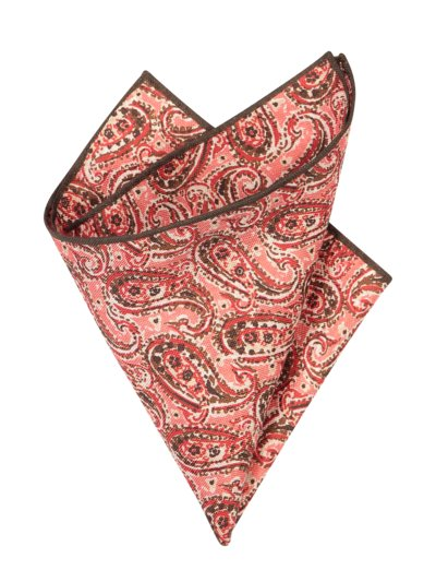 Linen pocket kerchief with a paisley pattern v RED