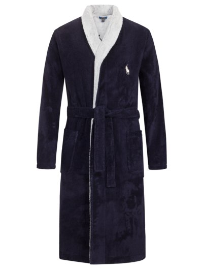 Dressing gown in terrycloth fabric with large logo emblem v MARINE