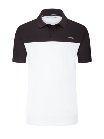 Polo shirt with colour block design v BLACK