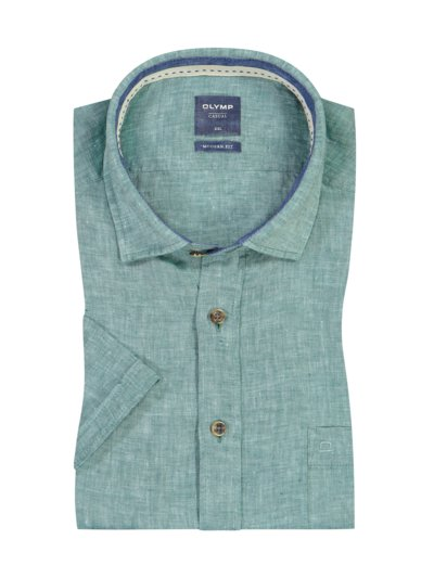 Casual linen shirt with a modern fit, short-sleeved v GREEN