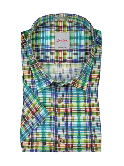 Casual shirt, short-sleeved, with colourful floral print v GREEN