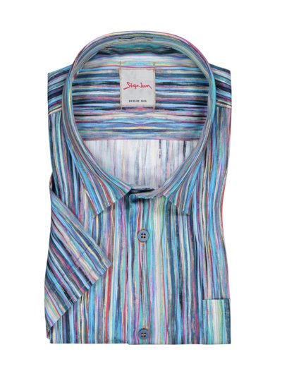 Short-sleeved shirt with stripe print v BLUE