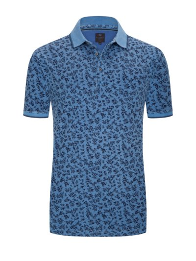 Polo shirt with pattern, extra long v BLUE