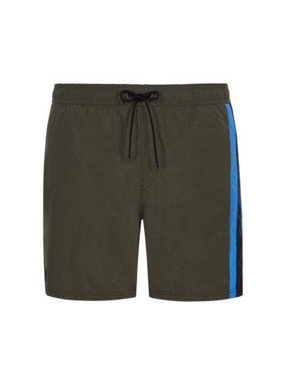 Swimming shorts with contrast stripe, 'Supplex' fabric v OLIVE-