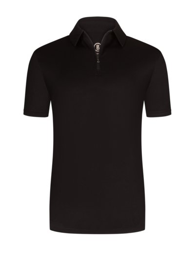 Polo shirt with zip v BLACK