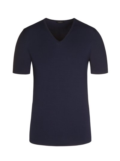 T-Shirt, V-Neck, im Viskose-Stretch in MARINE