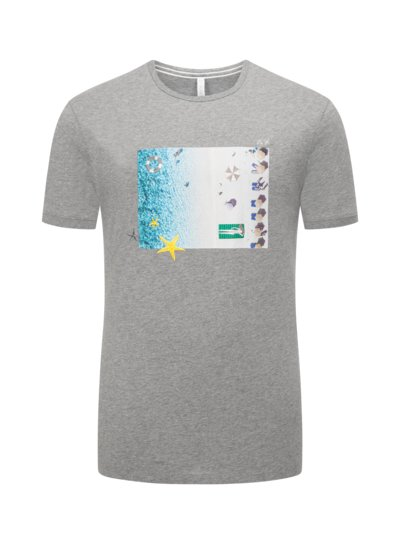 T-shirt with holiday print v GREY