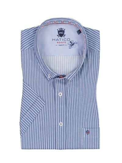 Short-sleeved shirt with striped pattern v BLUE