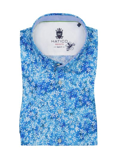 Short-sleeved casual shirt with floral print v ROYAL