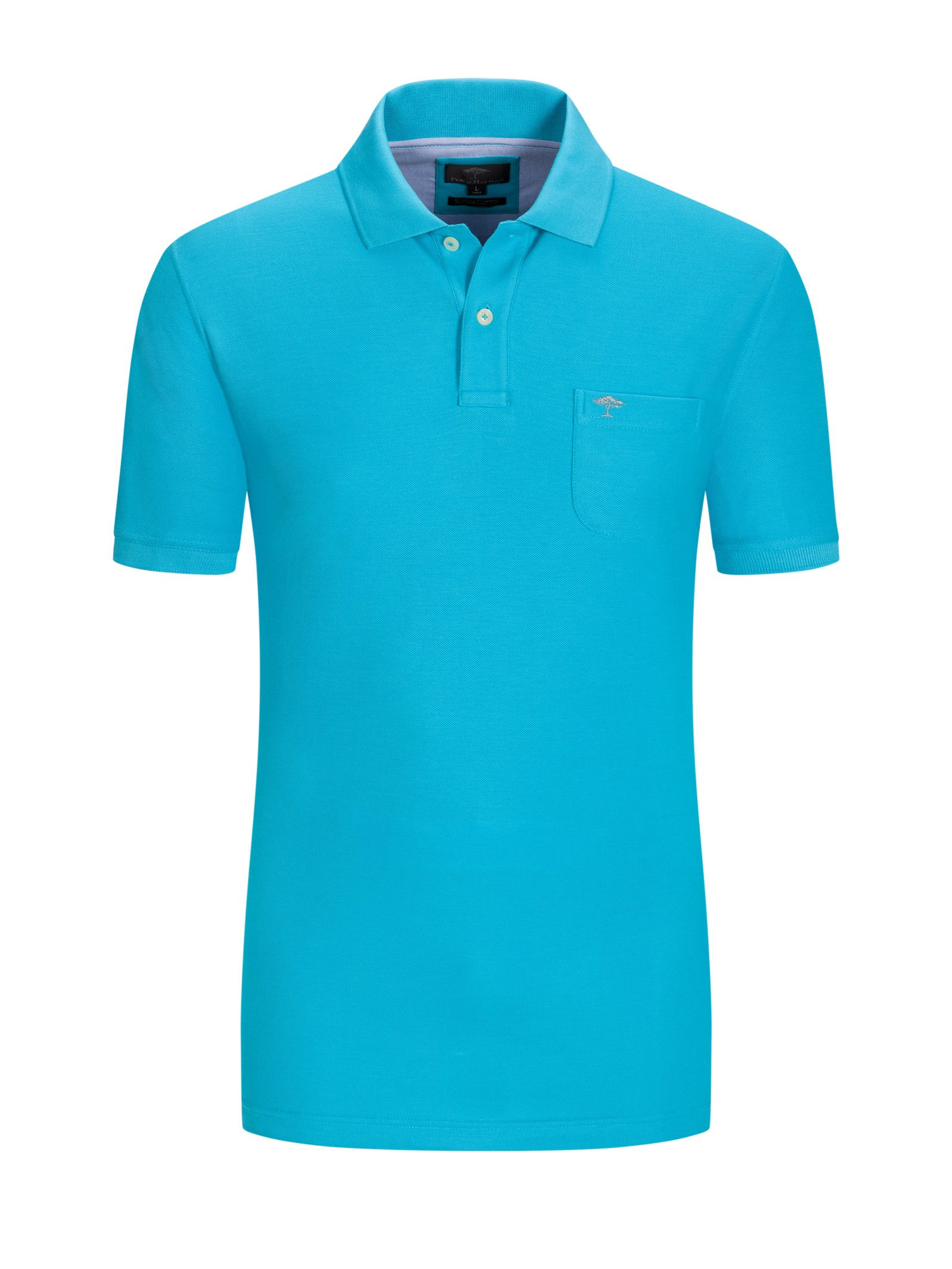 Polo shirt in 100% cotton with breast pocket, turquoise*