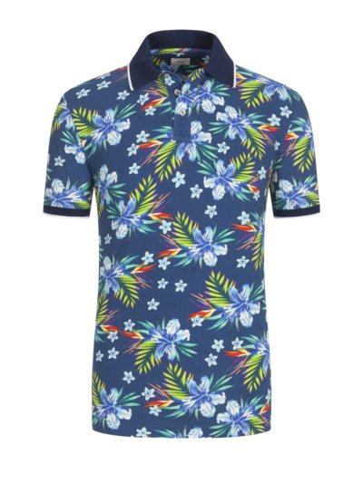 Polo shirt with floral print v BLUE