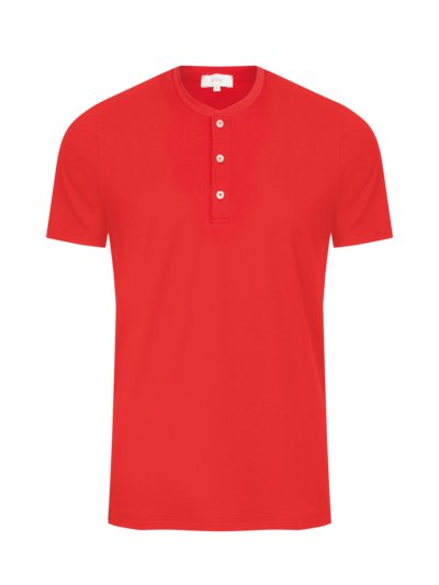 T-shirt with Serafino collar v RED