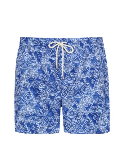 Swimming trunks made of recycled PU, with stylish print v BLUE
