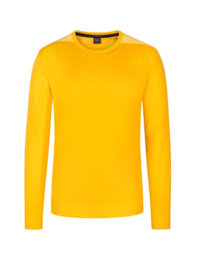 Round neck sweater in a virgin wool blend v YELLOW