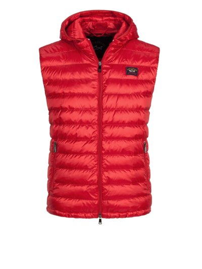 Quilted gilet with removable hood v RED