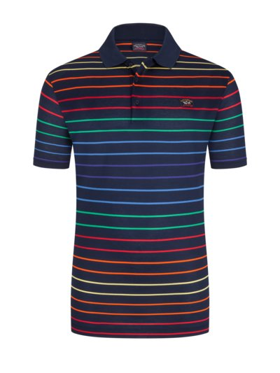 Polo shirt with striped pattern v MARINE