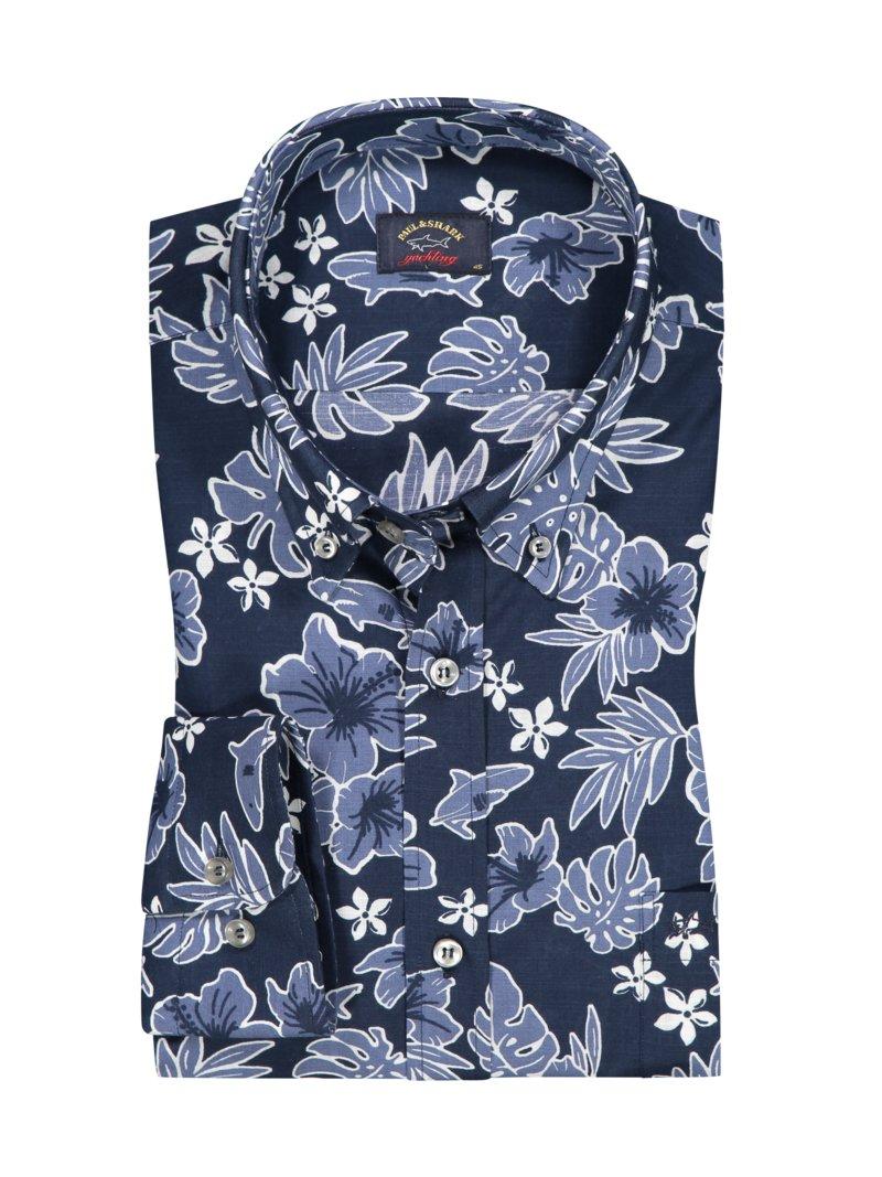 Paul Shark Casual Shirt With Hawaiian Floral Pattern Marine