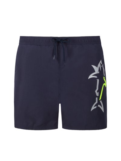 Swimming trunks with neon shark print v MARINE