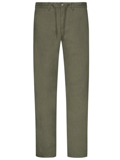 Linen trousers with drawstring v OLIVE-