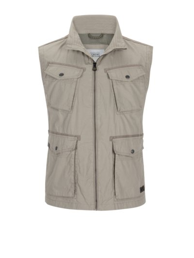 Casual gilet with patch pockets v KHAKI