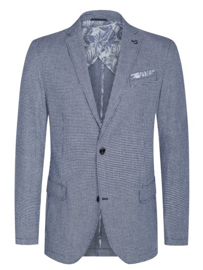 Smart-casual jacket with subtle pattern in a cotton and linen blend v LIGHT BLUE