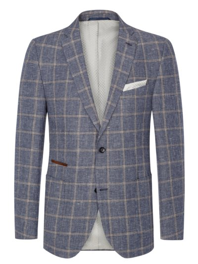 Blazer in windowpane check with elbow patches v BLUE