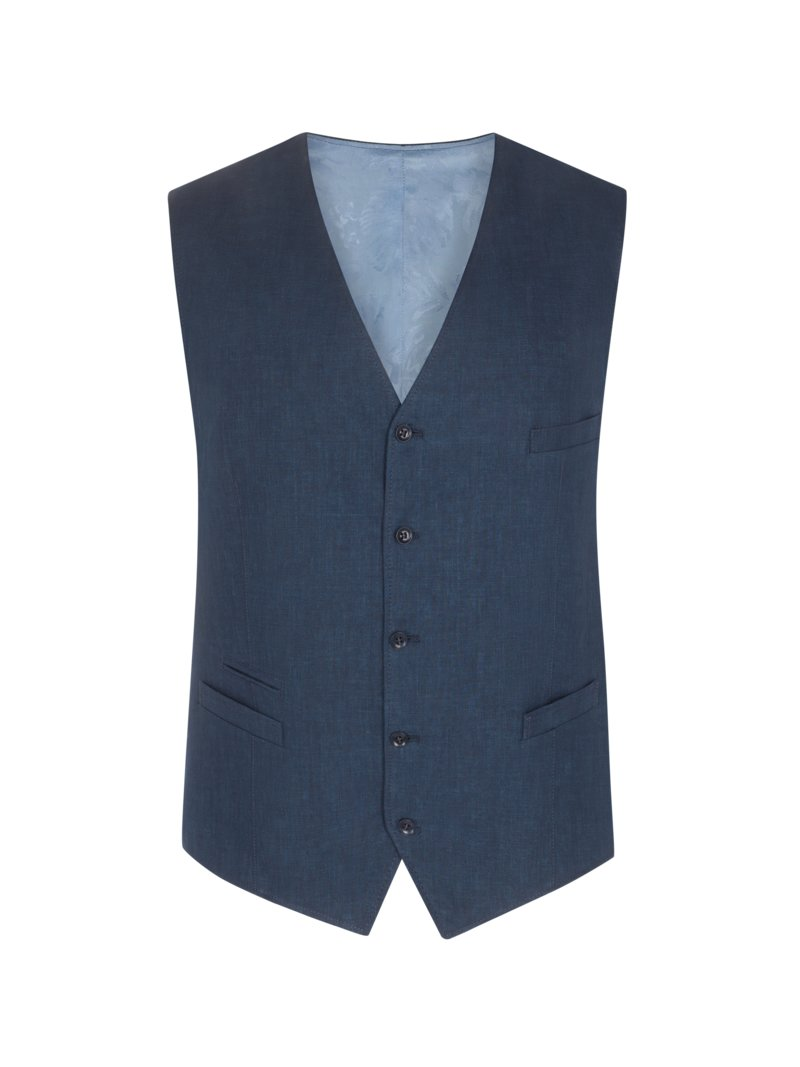 Carl Gross Summery linen vest MARINE in plus size