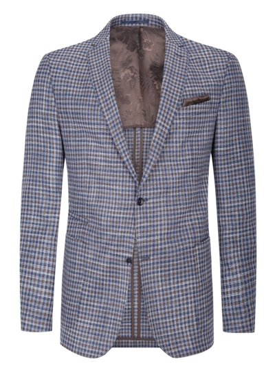 Blazer in checked pattern with silk content v BLUE