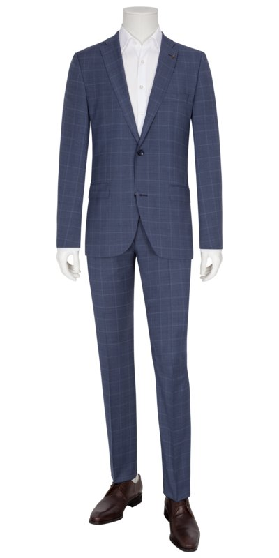 Business suit with a grid check pattern v BLUE