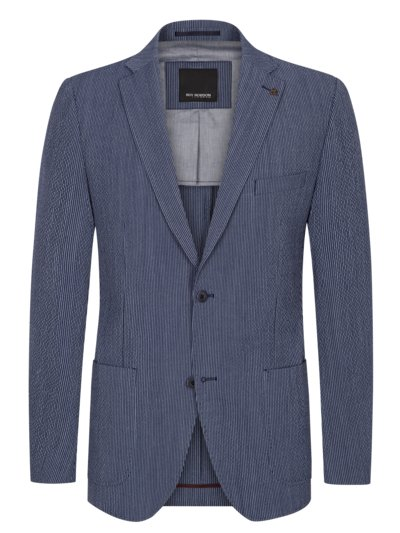 Cotton-blend blazer in a seersucker design v BLUE
