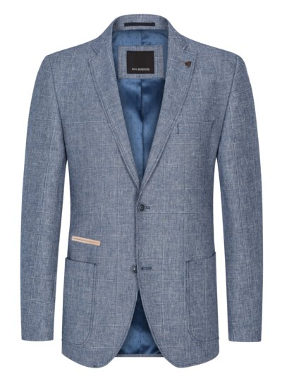 Blazer in grid check with elbow patches v BLUE