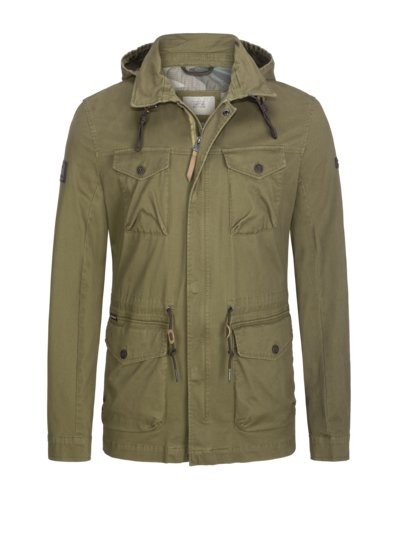 Field jacket with hood v OLIVE-