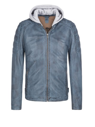 Lederjacke mit Sweat-Kapuze in HELLBLAU