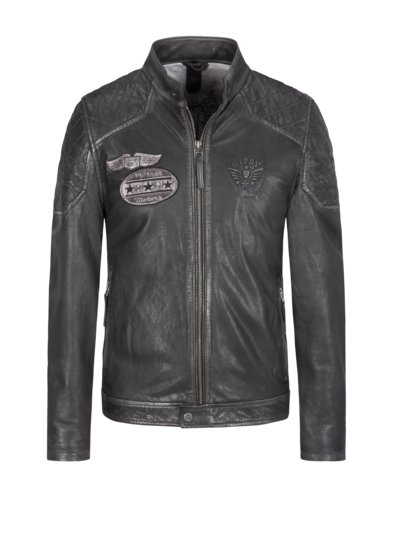 Leather jacket in a vintage style v ANTHRACITE