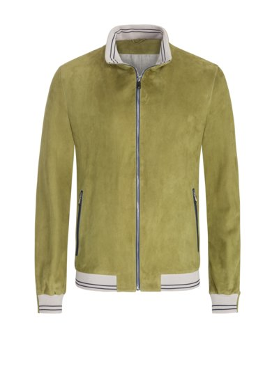 High-quality suede leather jacket v GREEN