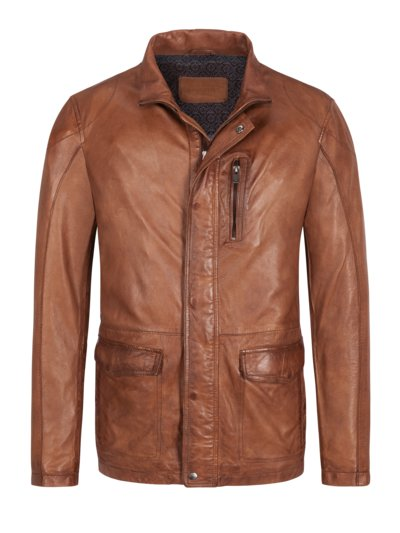Elegant leather jacket v COGNAC