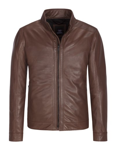 Lederjacke in perforiertem Leder in BRAUN