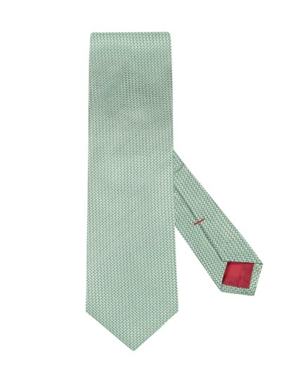 Silk tie with micro pattern v GREEN