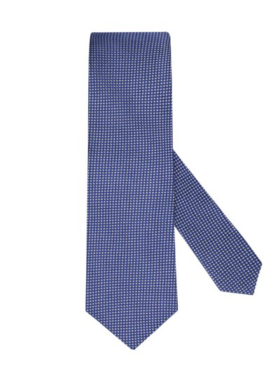Silk tie with mini square texture v BLUE