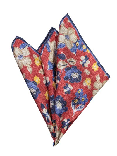 Pocket kerchief with floral pattern v RED