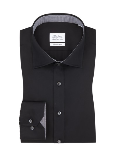 Businesshemd in Twofold-Super-Cotton, extralanger Arm in SCHWARZ