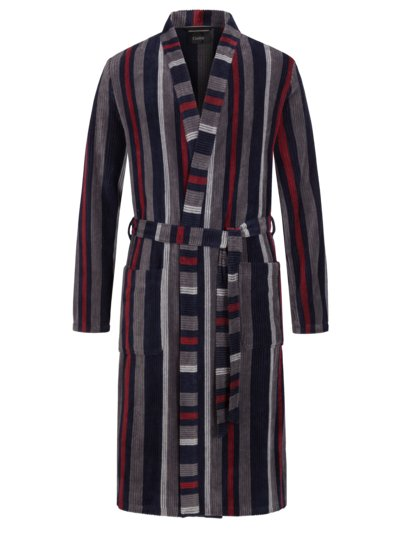 Dressing gown with block stripes v BLUE