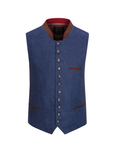 Traditional waistcoat with leather trim v BLUE