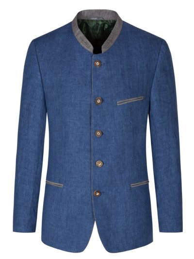Traditional jacket in pure linen v BLUE