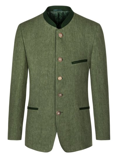 Traditional jacket in pure linen v GREEN