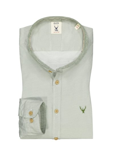 Traditional shirt with stylish pattern and standing collar v GREEN