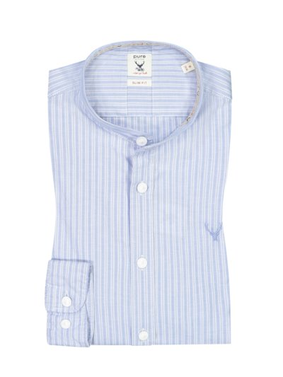 Traditional shirt with standing collar, Regular Fit v BLUE